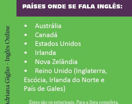 Países onde se fala inglês: