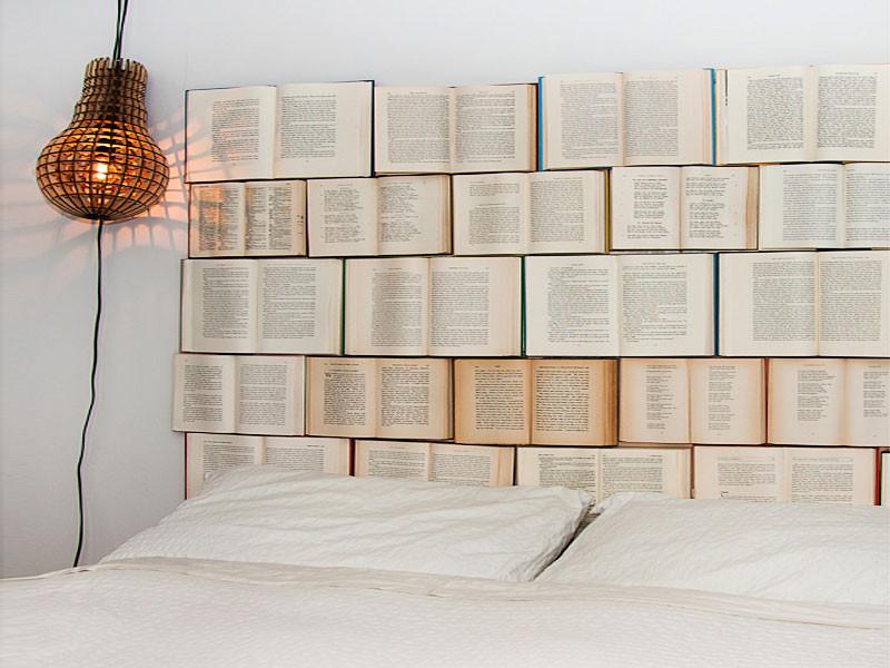 Vintage book headboard
