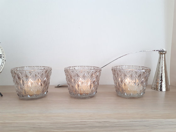 Set 3 Diamond Glass Tealight Holders