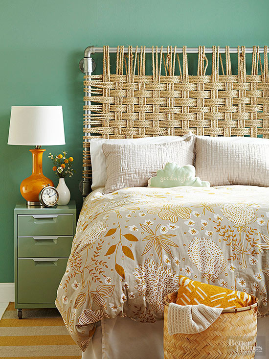 Industrial vintage pipe and woven rope headboard