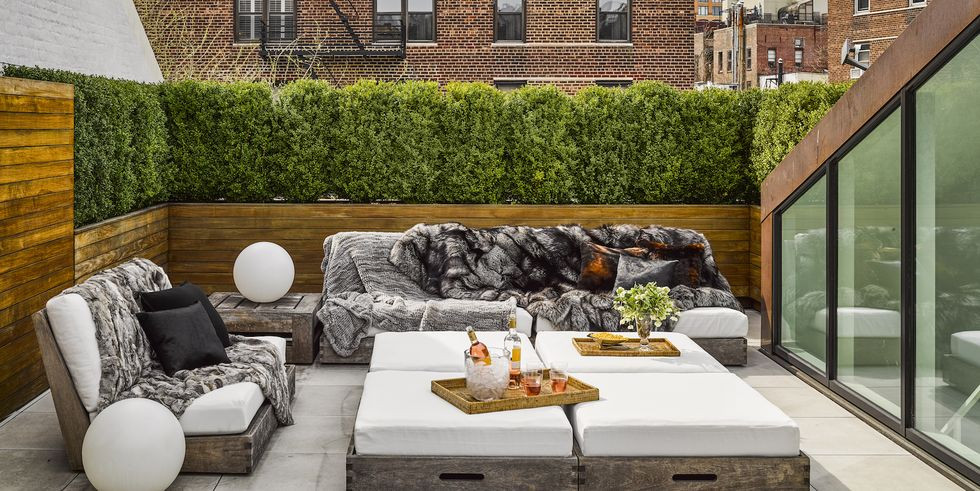 Fur throws for outdoor furniture