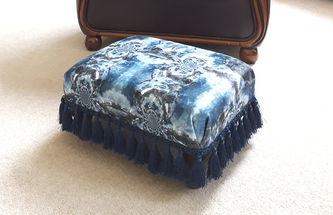 SALE! Vintage Footstool Reupholstered in Coira Fabric
