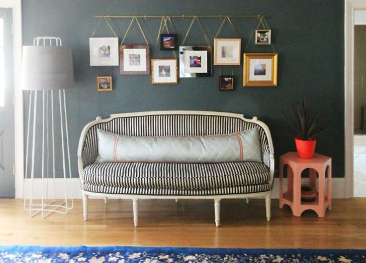 Hanging wall art on vintage picture rail