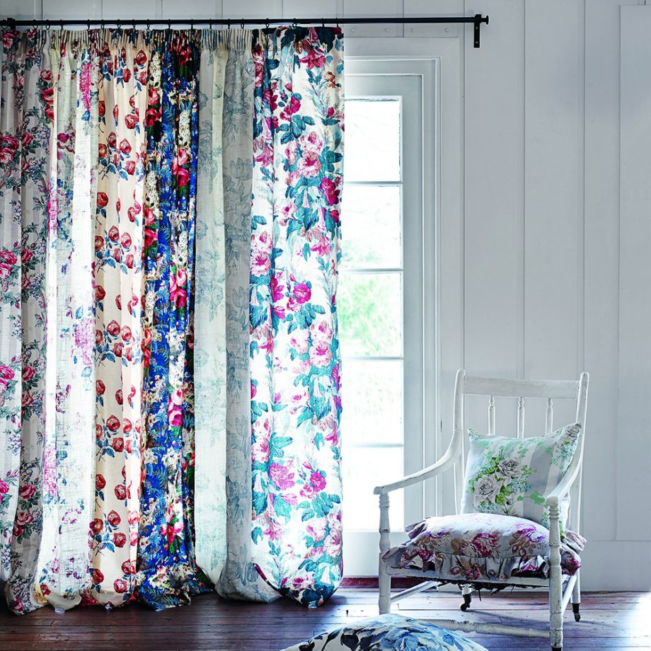 Vintage country style floral curtains