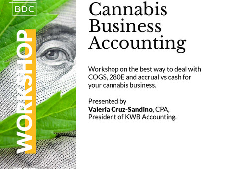 Two Cannabis Business Accounting Workshops