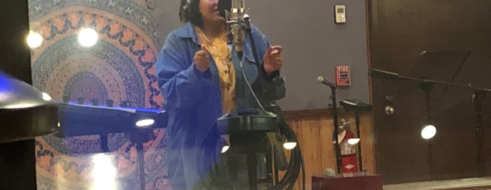 Michaela in the studio