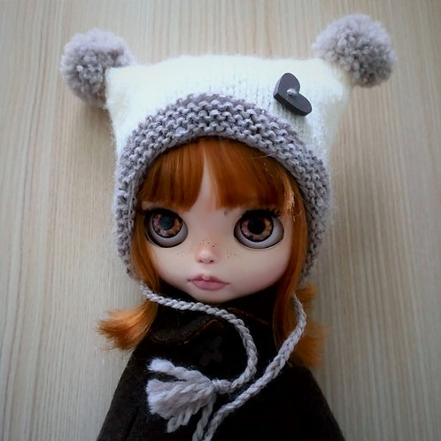 Blythe Light Brown  Ear flaps and Double Pom Pom Hat with Heart Button Detail