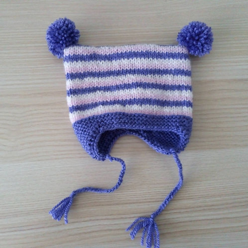 Blythe Purple, Pink and Cream Stripped  Pom Pom Hat