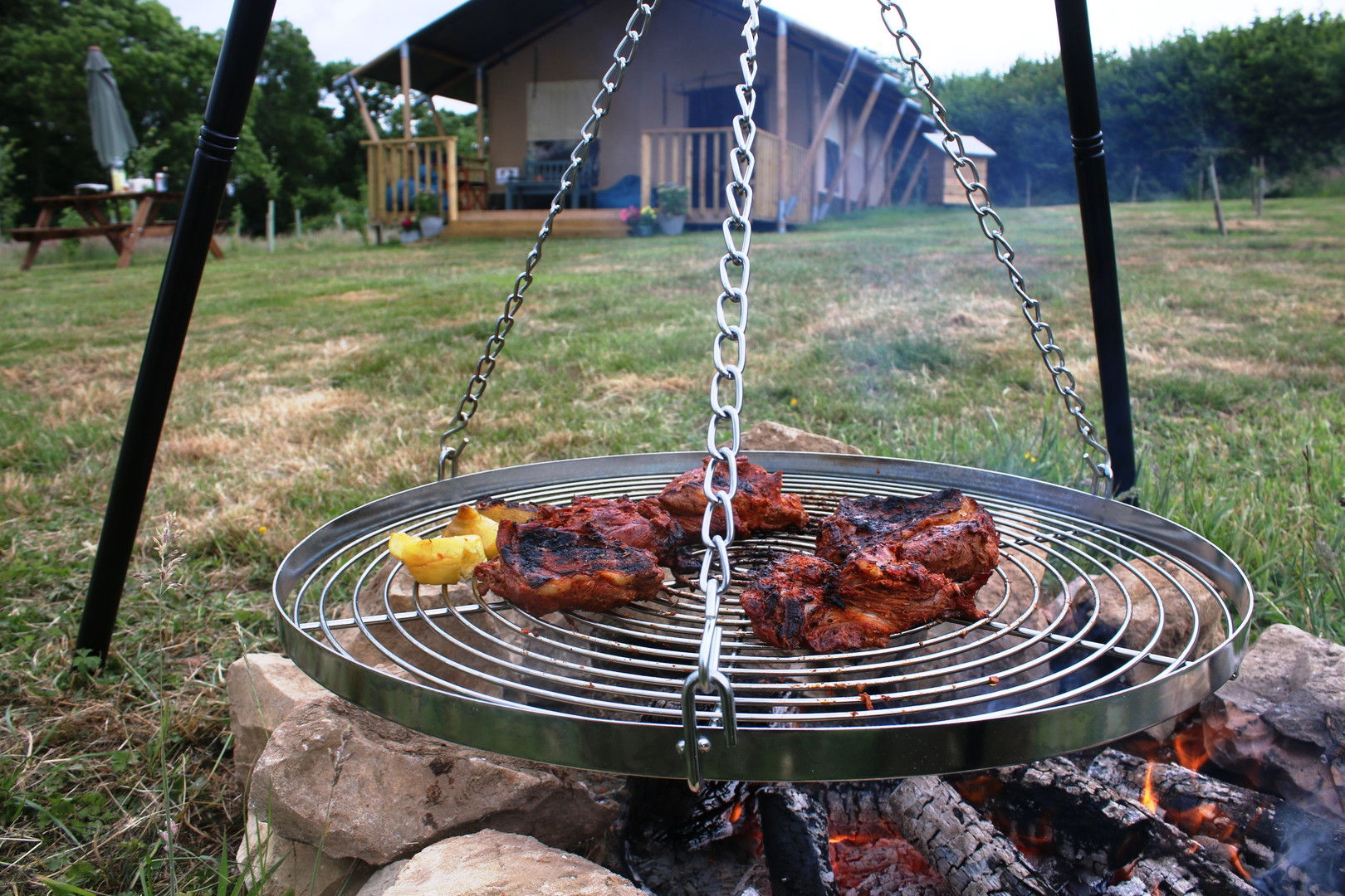 Fire pit and swing BBQ