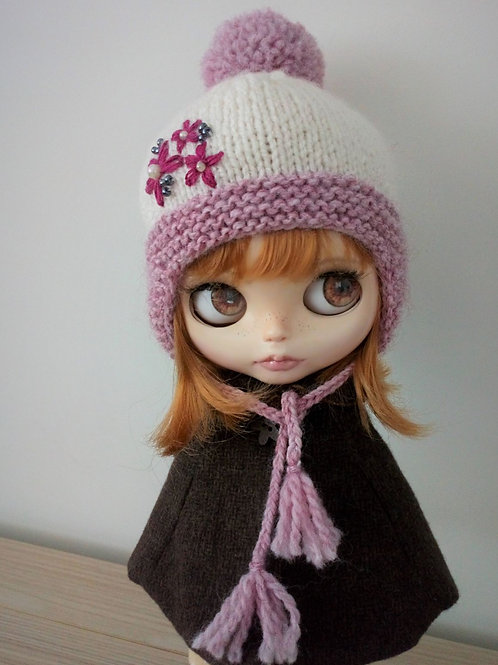 Blythe Pink Ear flaps and Pom Pom Hat with Embroidery Detail .