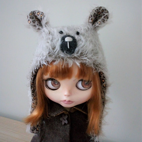 Blythe Fur Fabric Teddy Bear Hat