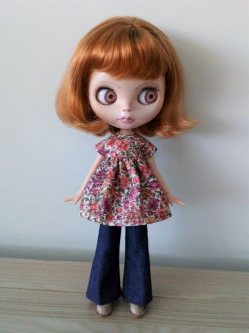 Blythe Bell Bottom Jeans and  Flower Print Smock Top.