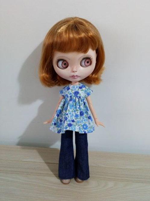 Blythe Bell Bottom Jeans and  Blue Flower Print Smock Top.