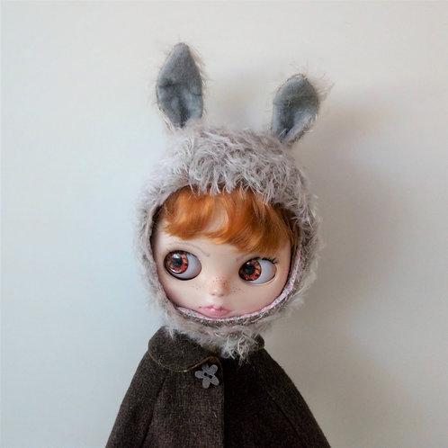 Grey Blythe Fur Fabric Rabbit Ear Hat with Grey Felt in Ears