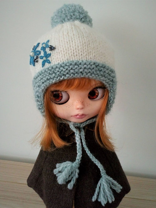 Blythe Green  Ear flaps and Pom Pom Hat with Embroidery Detail