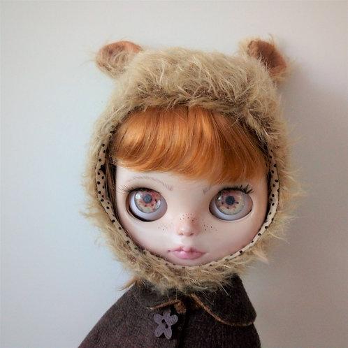 Brown Blythe Fur Fabric Teddy Ear Hat with Brown Felt in Ears