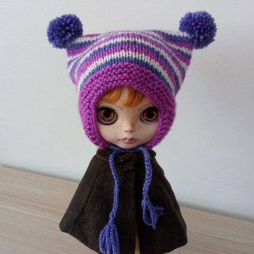 Blythe Dk Pink Earflaps,  Cream & Purple Stripped  Pom Pom Hat