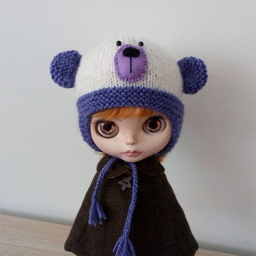 Blythe Purple Ear Flaps & Ears with  Lilac Muzzle Teddy Bear Hat