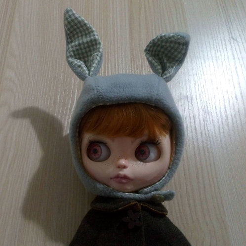 Blythe Grey Fleece Rabbit Hat