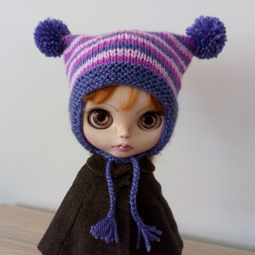 Blythe Purple Earflaps,  2 Shades of Pink Stripped  Pom Pom Hat