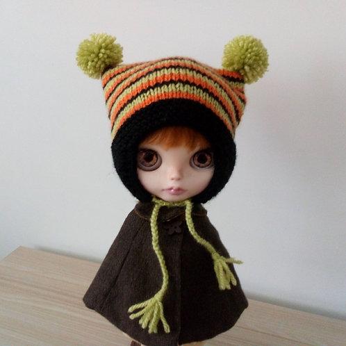 Blythe Black  Earflaps,  Orange & Green Stripped  Pom Pom Hat