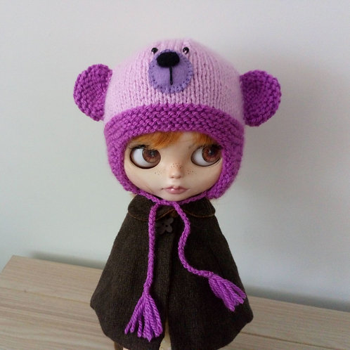 Blythe 2 tone Pink and Lilac Muzzle Teddy Bear Hat