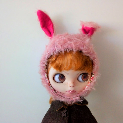 Blythe Fur Fabric Rabbit Ear Hat with Pink Felt