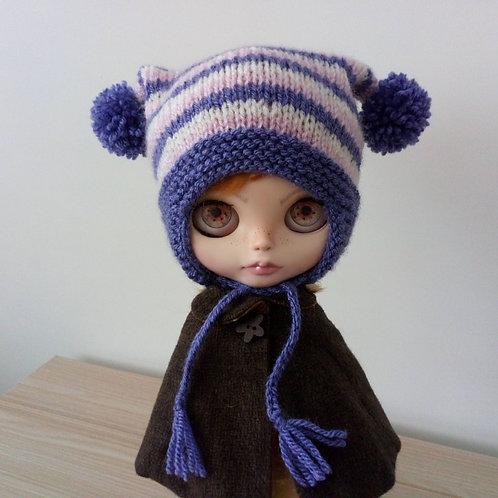 Blythe Purple, Pink and Cream Stripped  Pom Pom Hat