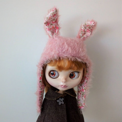 Pink Blythe Fur Fabric Rabbit Ear Hat with Pink printed Fabric in Ear