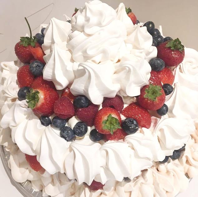 Fresh Cream & Strawberries Pavlova