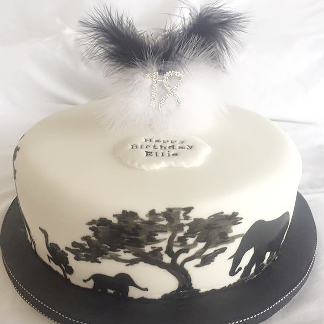 Silouhette and Feathers Cake