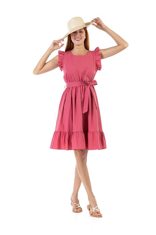 Φόρεμα με βολάν και ζώνη