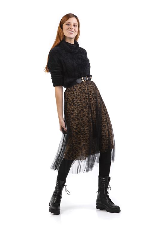 Μίντι λεοπάρ φούστα με τούλι
