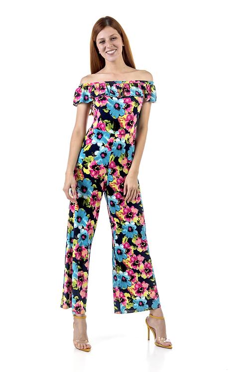 Ολόσωμη φόρμα φλοράλ με ακάλυπτους ώμους