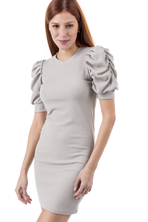 Lurex φόρεμα με φουσκωτούς ώμους