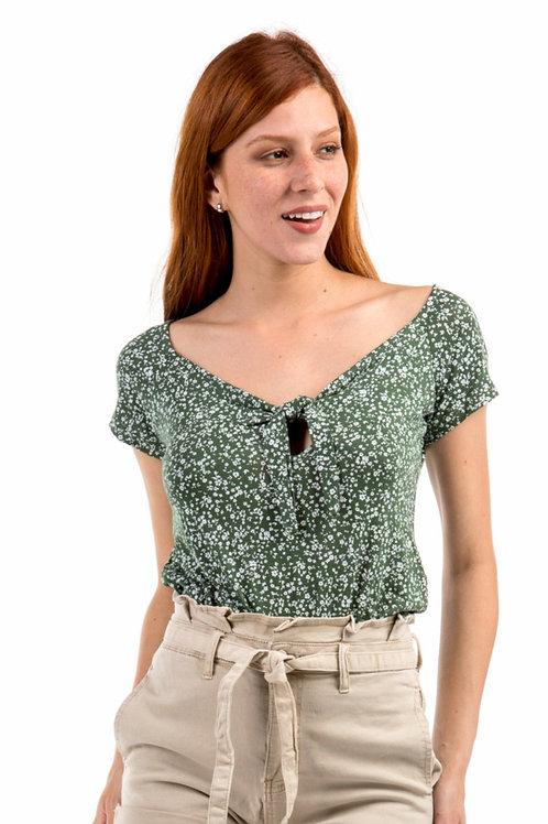 Φλοράλ μπλουζάκι με κόμπο στο μπούστο
