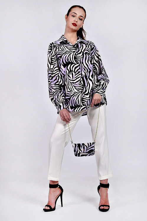 Animal print πουκάμισο με τσαντάκι