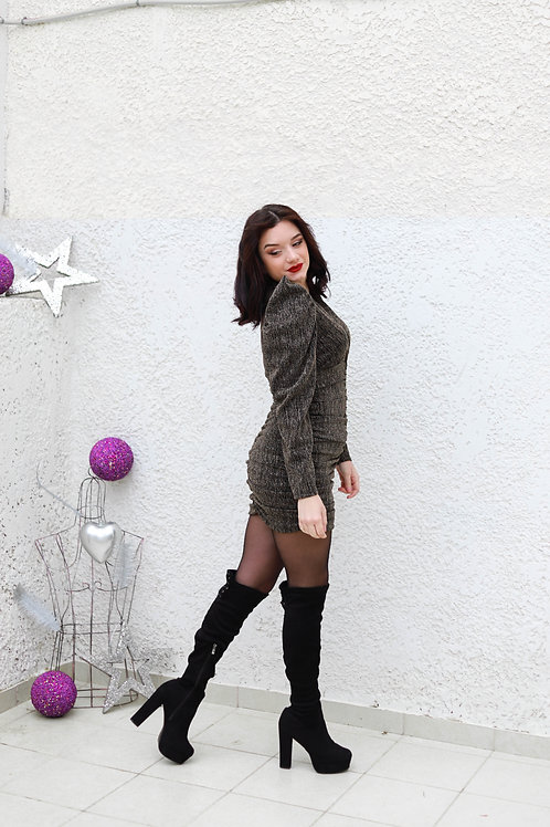 Μίνι lurex φόρεμα με σούρα