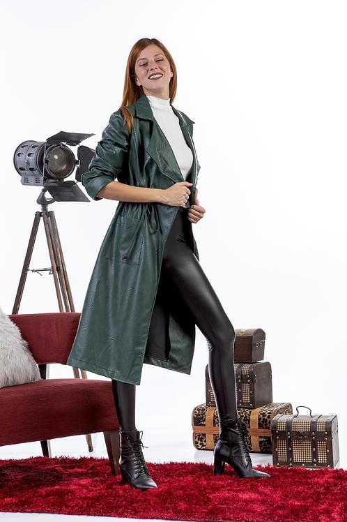 Eco leather μακρύ παλτό