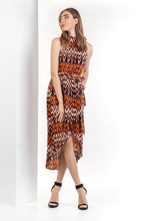 Ασύμετρο φόρεμα που δένει στον λαιμό