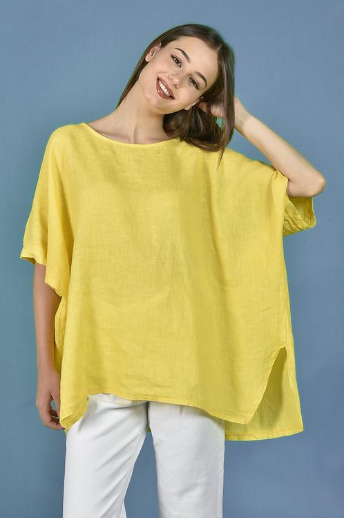 Μονόχρωμη λινή μπλούζα