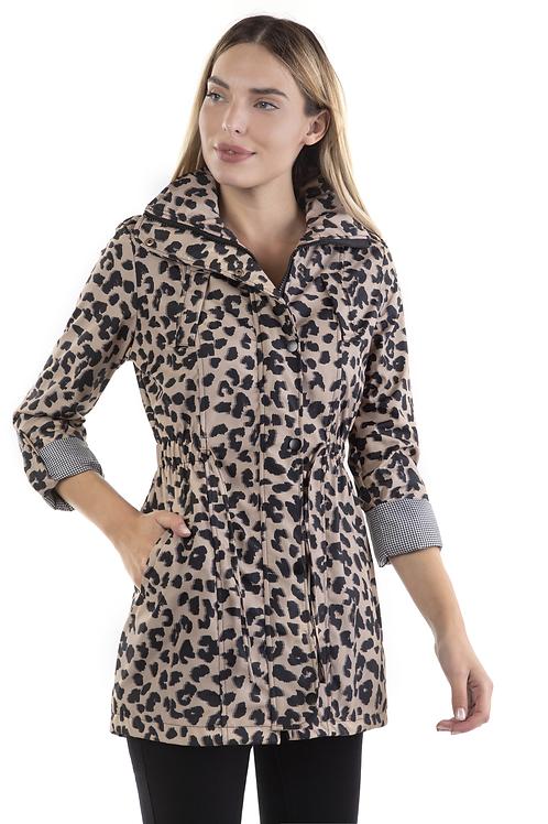 Animal print παλτό με καρό ρεβέρ στο μανίκι