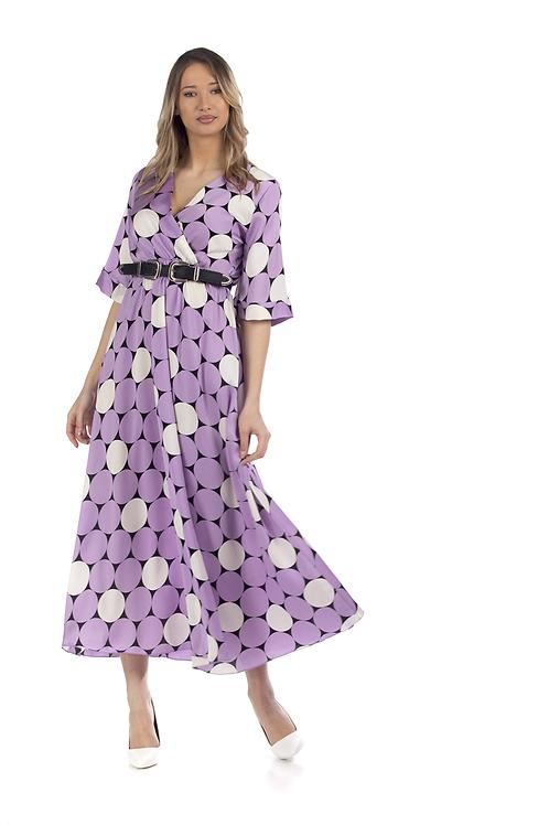 Μάξι φόρεμα με κυκλικά σχέδια