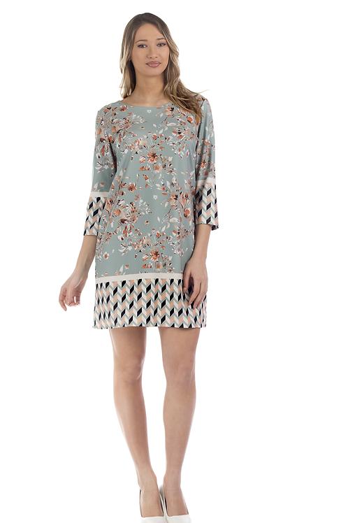 Φλοράλ φόρεμα με γεωμετρικά σχέδια