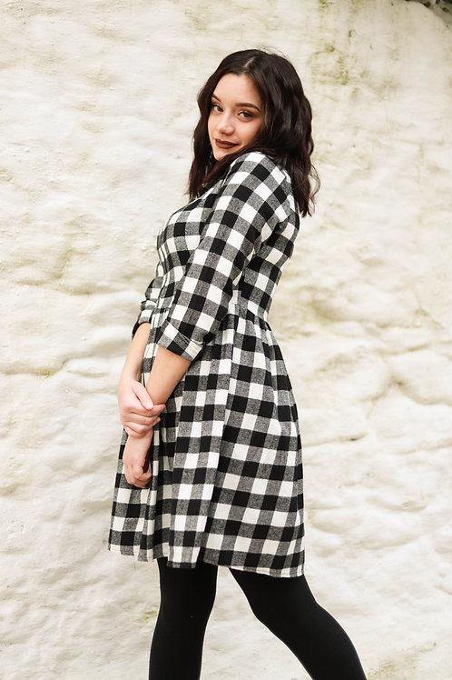 Καρό φόρεμα με φερμουάρ