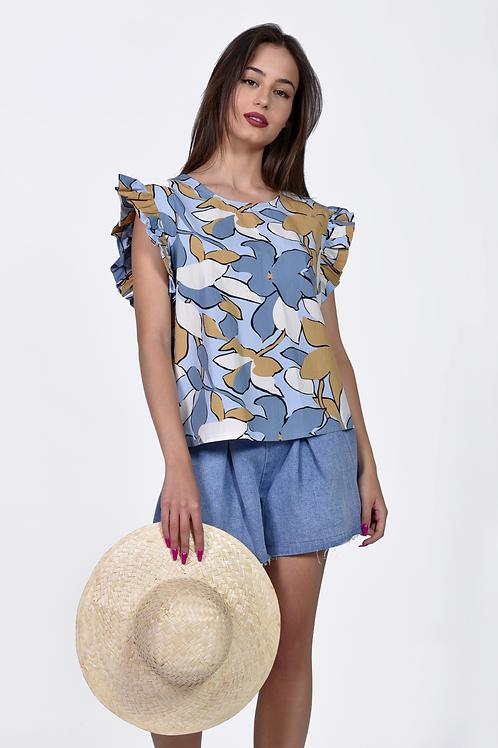 Floral μπλούζα με βολάν