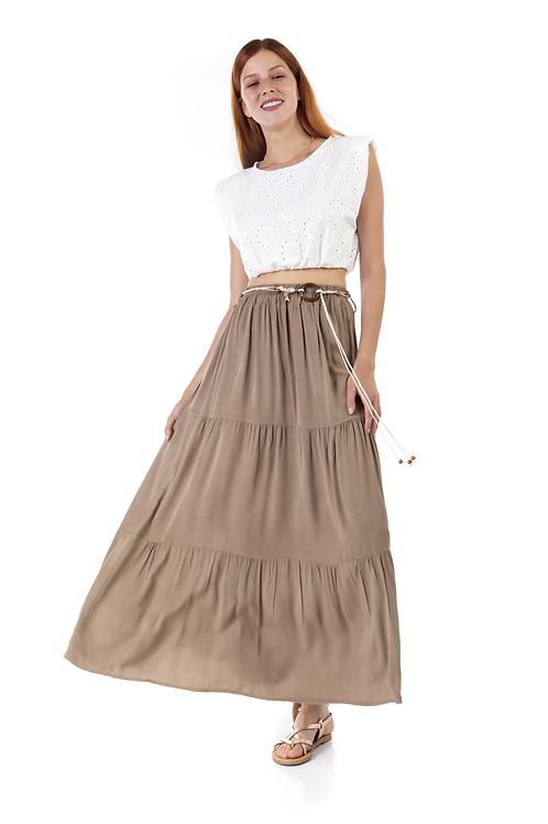 Μονόχρωμη μακριά φούστα με ζωνάκι