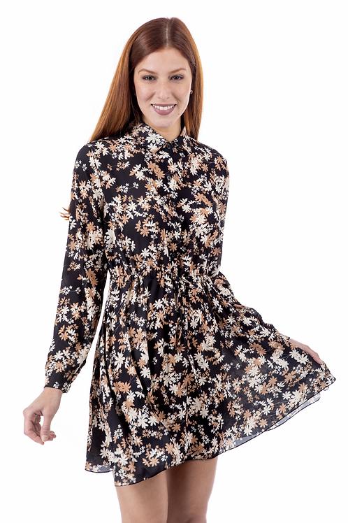 Φλοράλ φόρεμα με γιακά