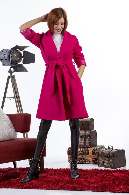 Φούξια μονόχρωμο παλτό