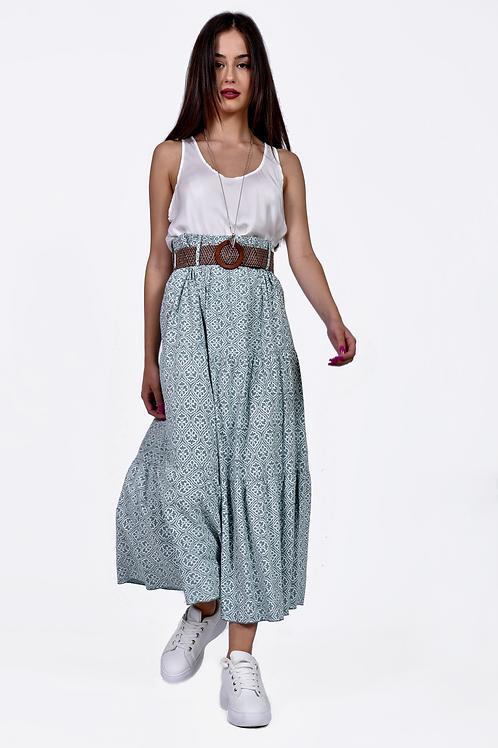 Floral φούστα με ζώνη